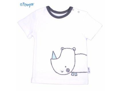 Bavlněné tričko krátký rukáv Nicol, Rhino - bílé, vel.74 - 74 (6-9m)