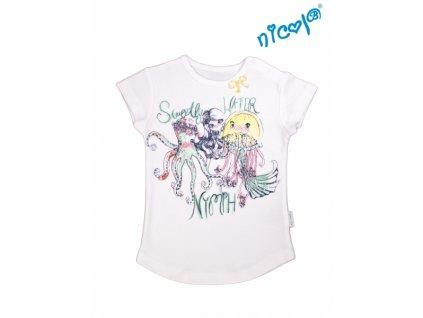 Kojeneké bavlněné tričko Nicol, Mořská víla - krátký rukáv, bílé, vel.