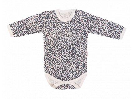 Mamatti Dětské body dl. rukáv, Gepardík, bílé se vzorem, vel.