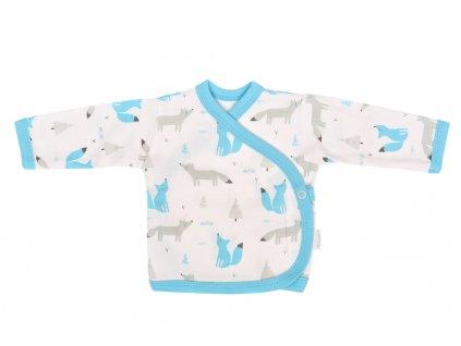 Mamatti Novorozenecká bavlněná košilka zapínání bokem, Liška - bílá s potiskem - 50 (0-1m)