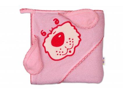 Baby Nellys Dětská osuška 80 x 80cm Pejsek s kapucí - růžová