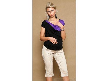 Be MaaMaa Těhotenské kalhoty ANNA 3/4 - béžové