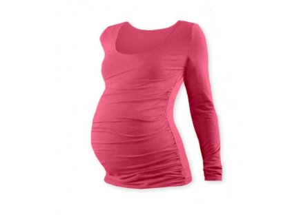 JOŽÁNEK Těhotenské triko JOHANKA s dlouhým rukávem - lososově růžová