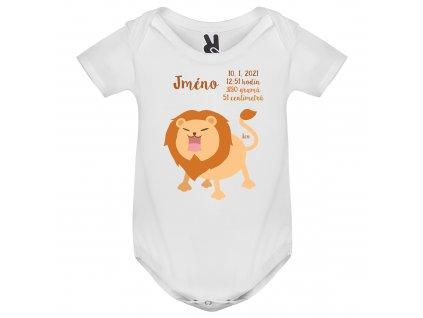 Dětské body - Lev s údaji o narození