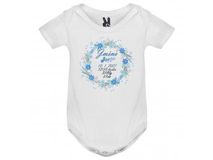 Dětské body - Květinový věnec s údaji o narození pro kluka
