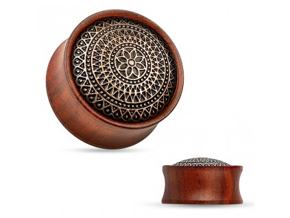Dřevěný plug do ucha Rose Wood s ornamenty