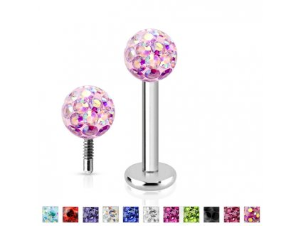 Piercing do brady labreta s krystaly Crystals from  SWAROVSKI®1,2 x 6 mm