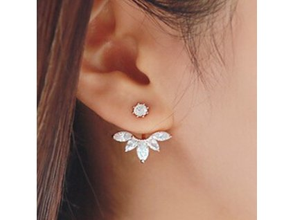 Korean Gold and Silver Plated Leave Crystal Stud Earrings Fashion Statement Jewelry Earrings for Women free