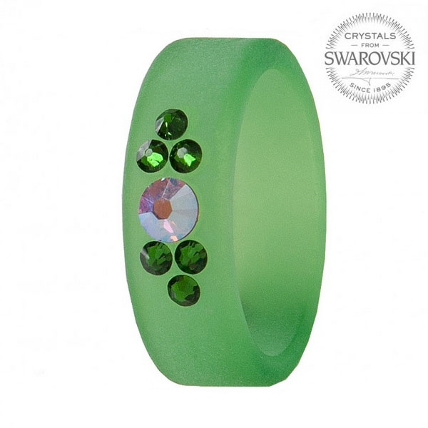 LEVIEN Prsten SWAROVSKI®elements GREEN, vel. 56
