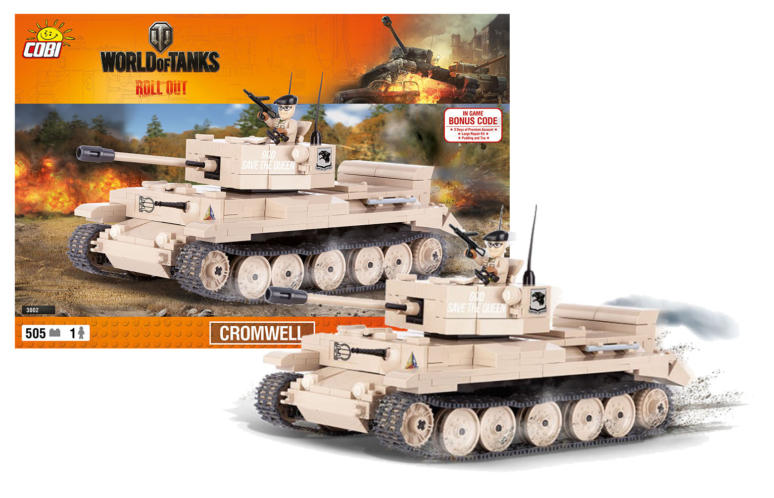 COBI stavebnice World of Tanks Cromwell 505 k, 1 f
