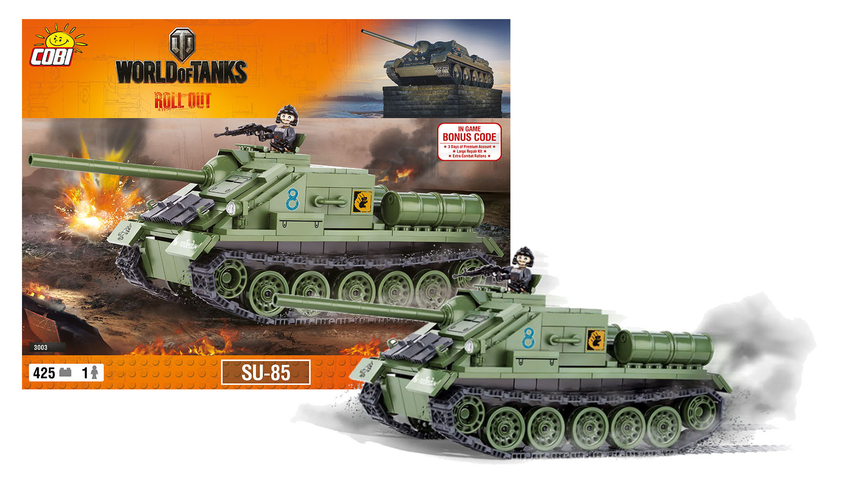 COBI stavebnice World of Tanks tank SU 85, 425 k, 1 f
