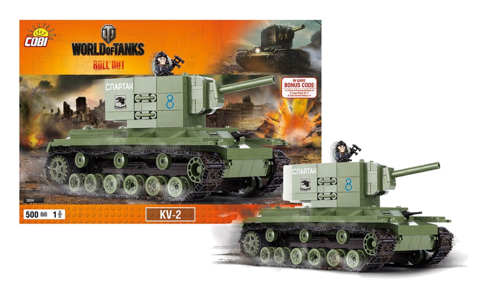 COBI stavebnice World of Tanks tank KV2, 500 k, 1 f