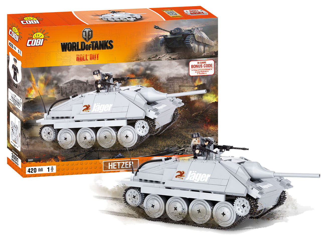 COBI stavebnice World of Tanks Hetzer 410 k, 1 f