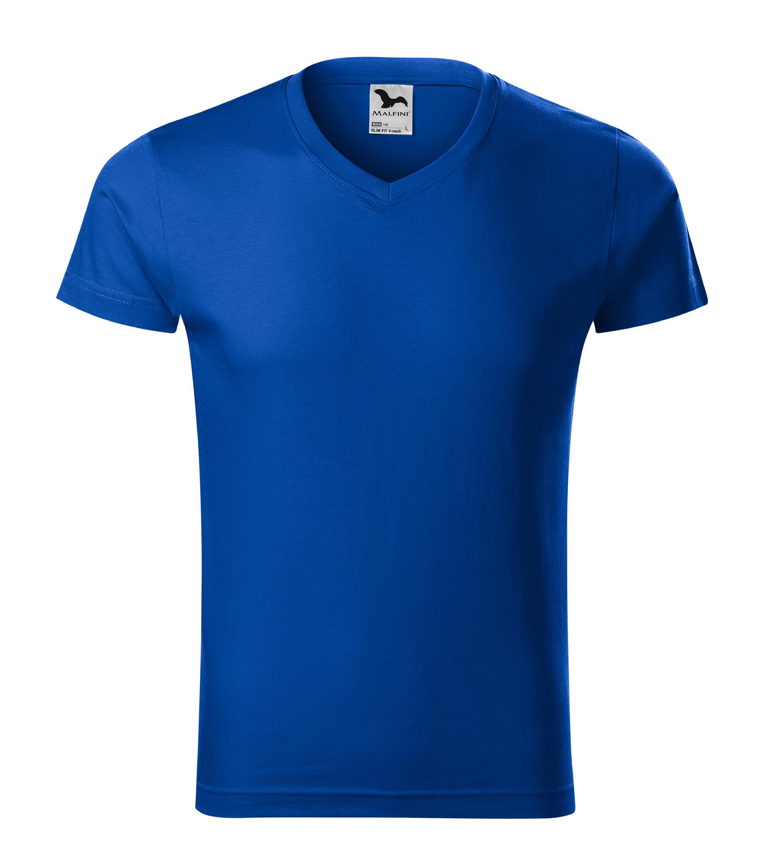 Tričko pánské Slim Fit V-neck Barva: královská modrá, Velikost: S