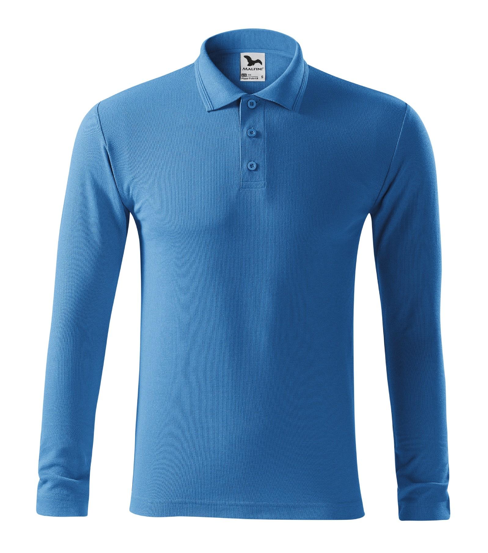 Polokošile pánská Pique Polo LS Barva: azurově modrá, Velikost: L