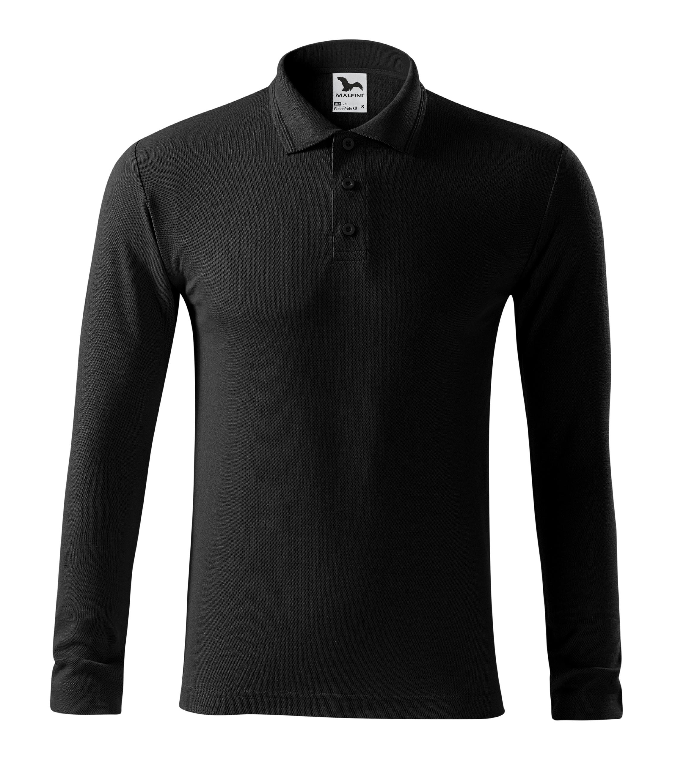 Polokošile pánská Pique Polo LS Barva: černá, Velikost: L