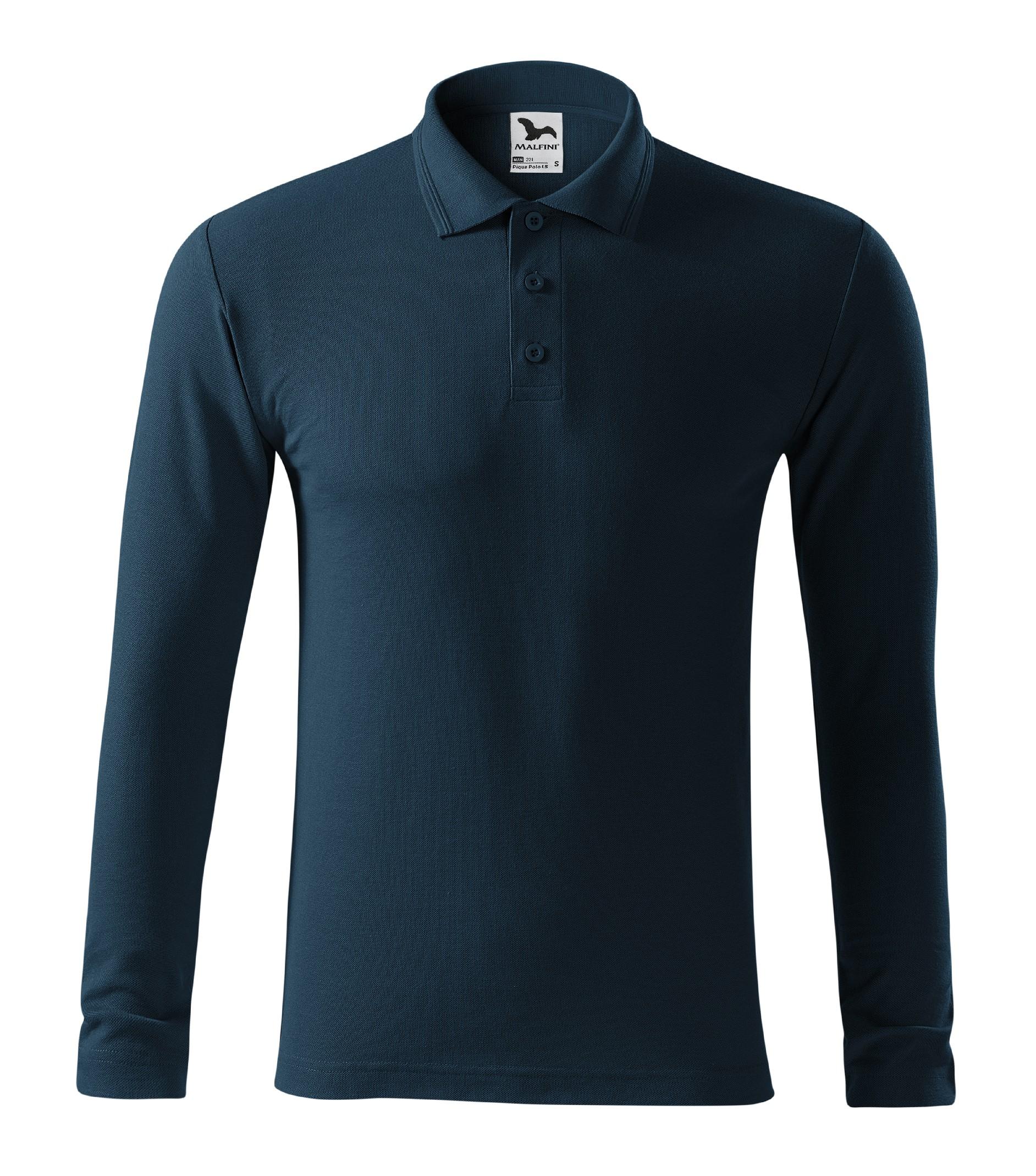 Polokošile pánská Pique Polo LS Barva: námořní modrá, Velikost: L