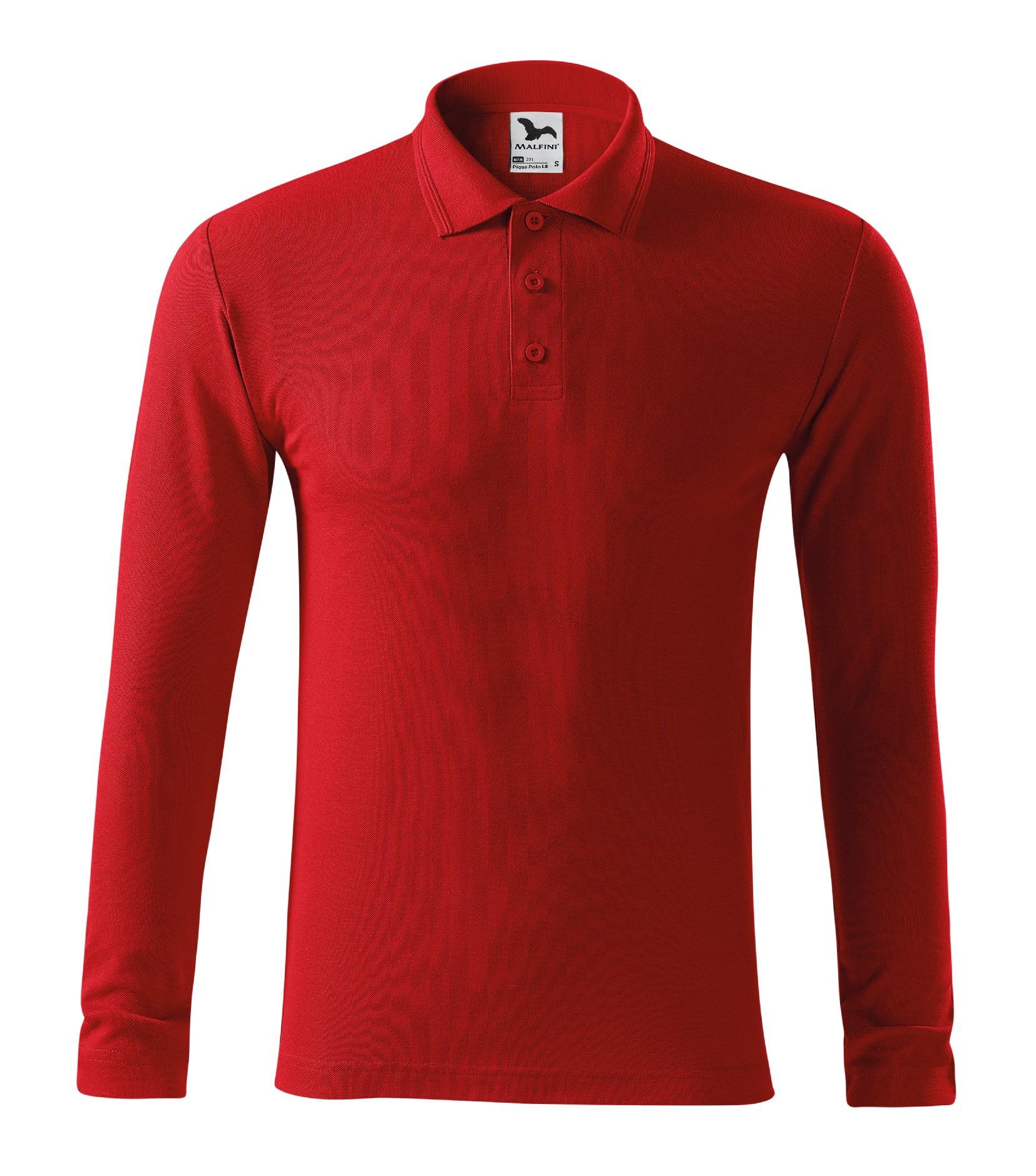 Polokošile pánská Pique Polo LS Barva: červená, Velikost: L