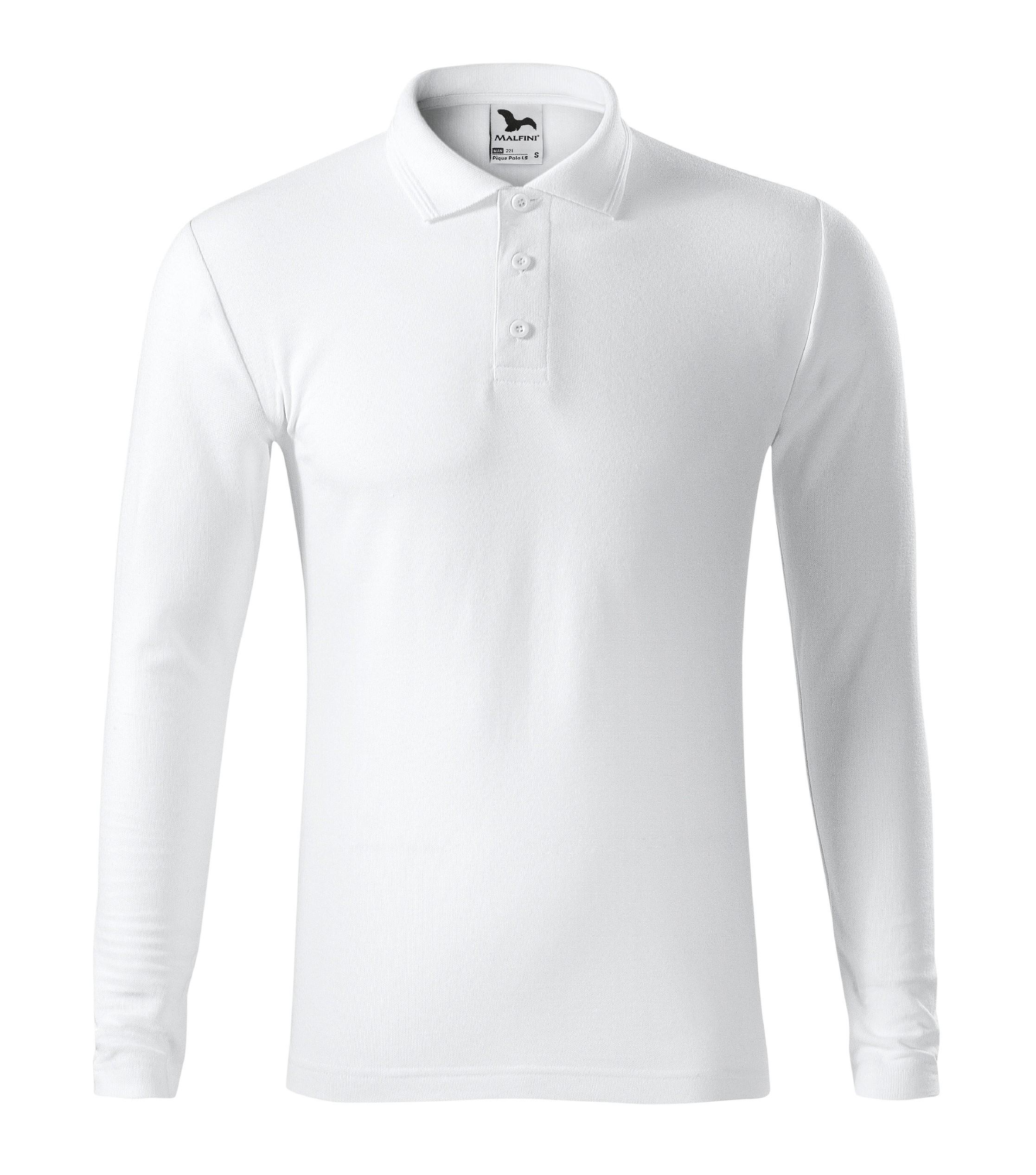 Polokošile pánská Pique Polo LS Barva: Bílá, Velikost: L
