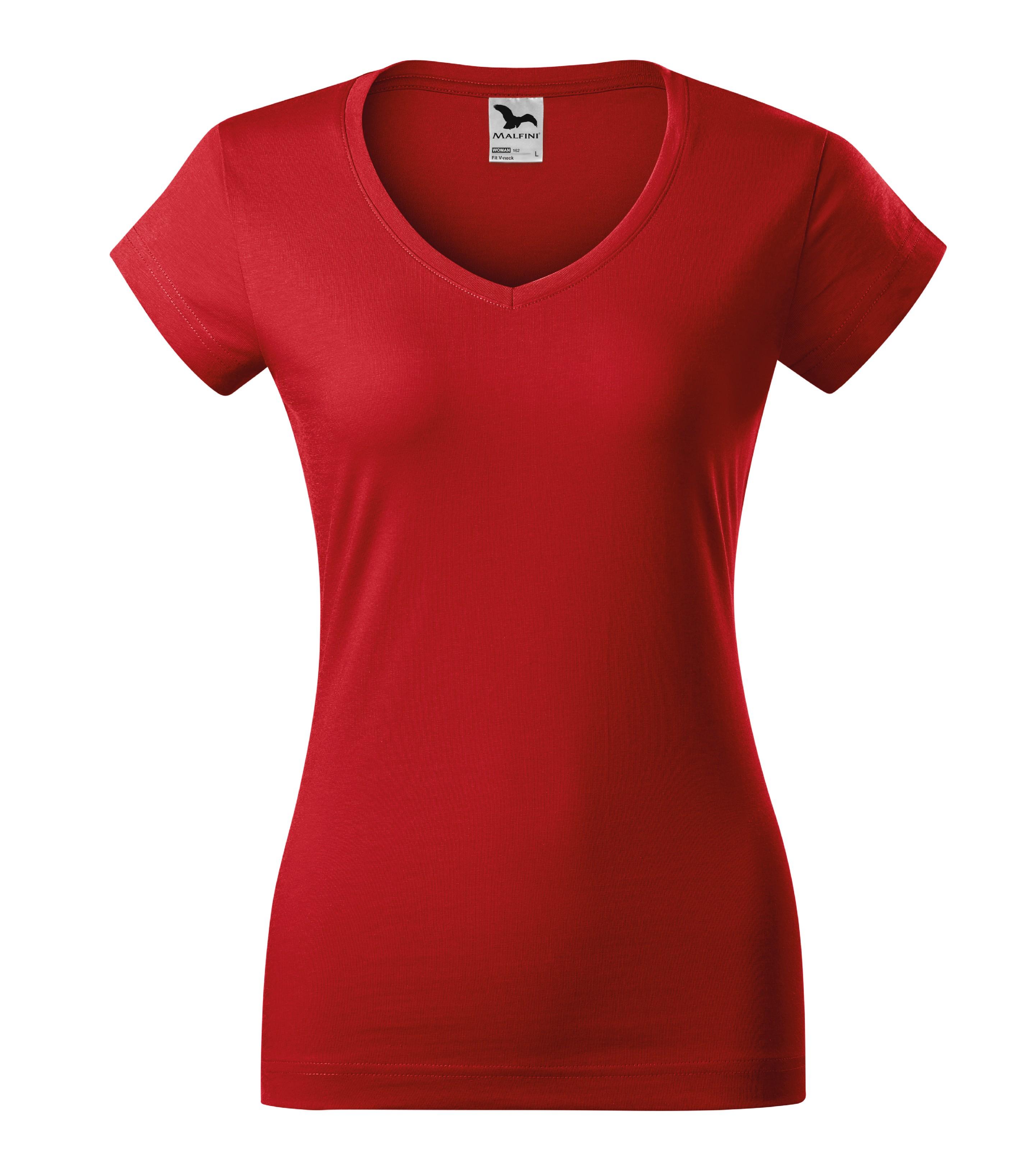 Tričko dámské Fit V-neck Barva: červená, Velikost: XL
