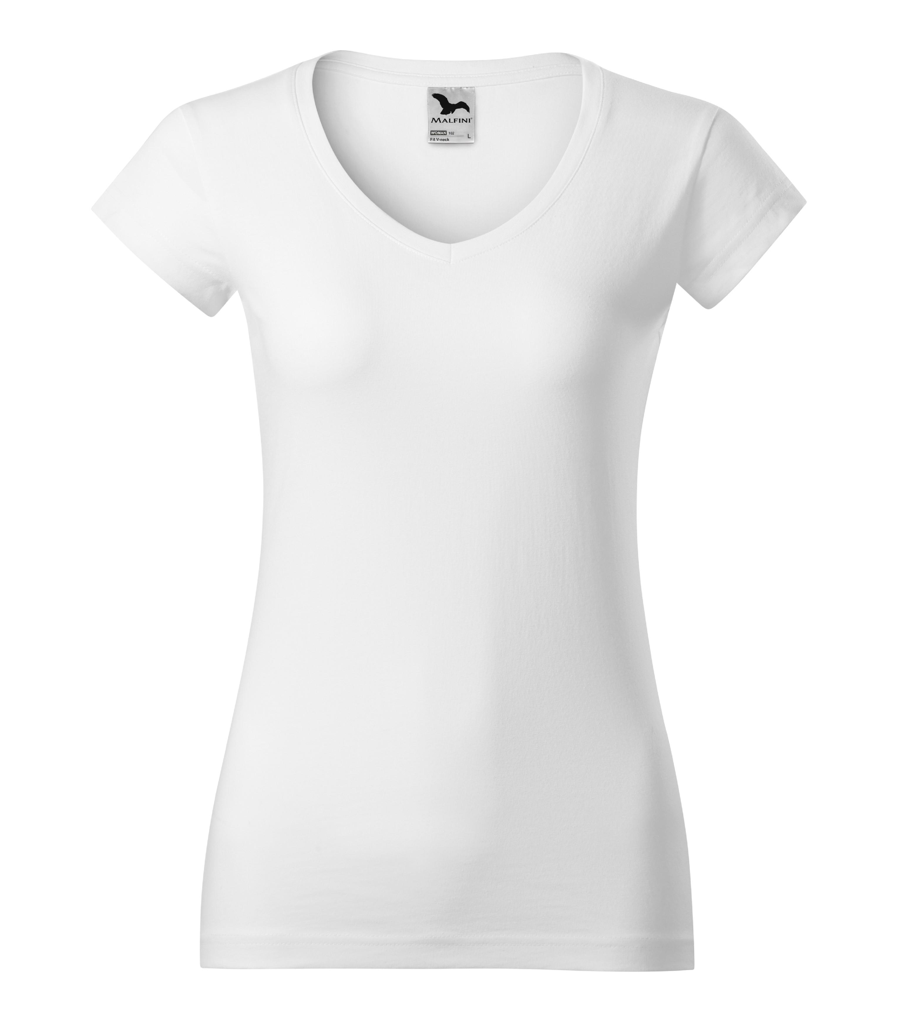 Tričko dámské Fit V-neck Barva: Bílá, Velikost: XL