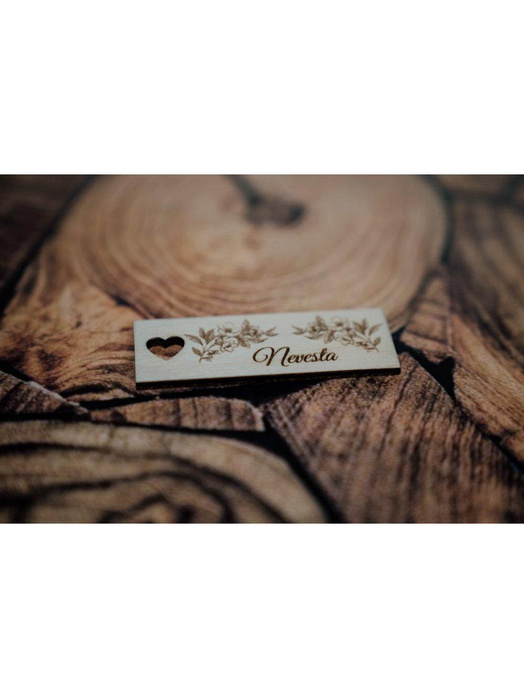 Drevená svadobná menovka visačka 24