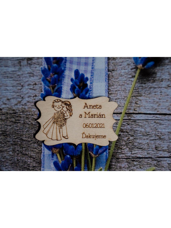 Drevená svadobná magnetka 34