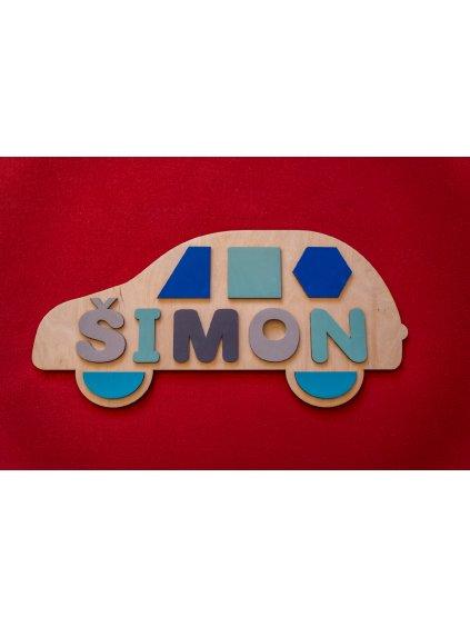 Montessori drevená skladačka autíčko s menom