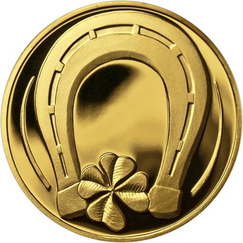 Zlatá medaile pro štěstí - dárek k narození dítěte, ke křtu