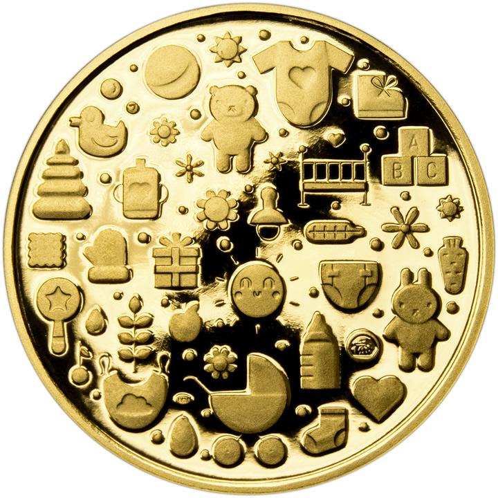 Zlatá dětská medaile s věnováním