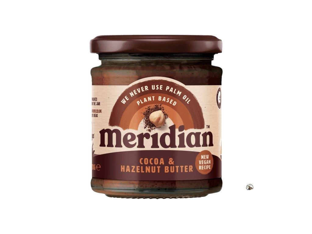 Meridian Lískooříškové máslo s kakaem 170g front ROUNDEL 540x