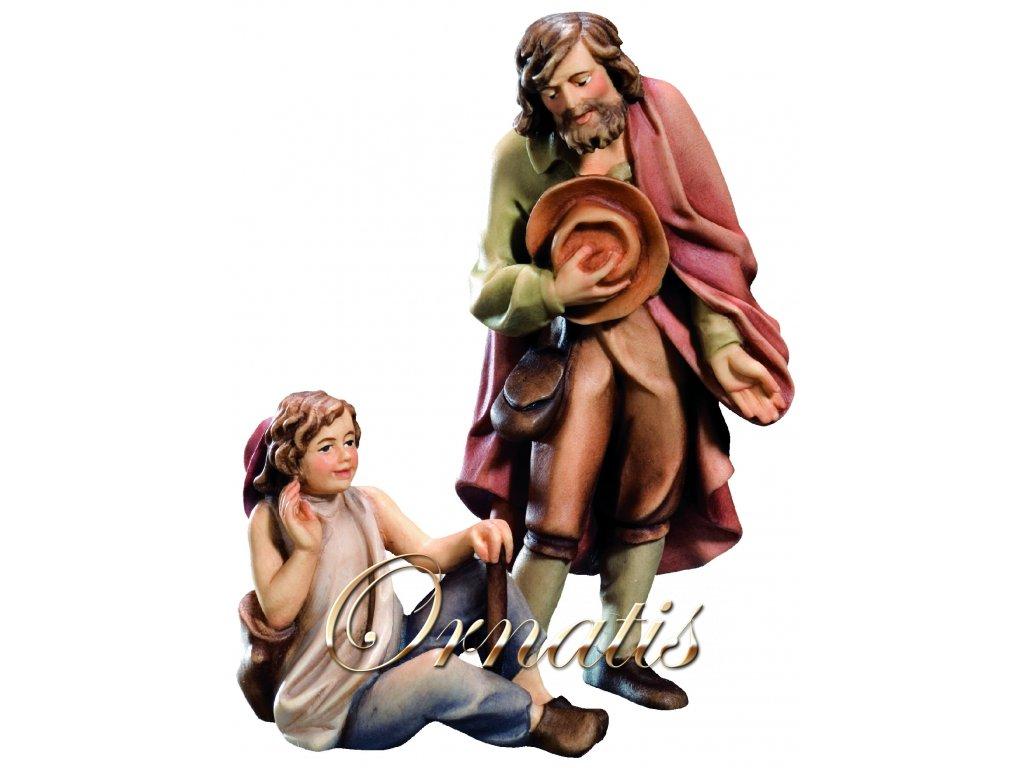 Poutník s dítětem-prodej betlémů