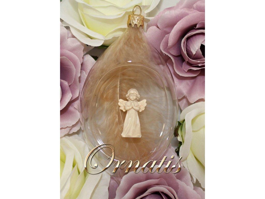 Skleněná foukaná ručně malovaná ozdoba s dřevěnou soškou anděla prodej a výroba vánočních ozdob