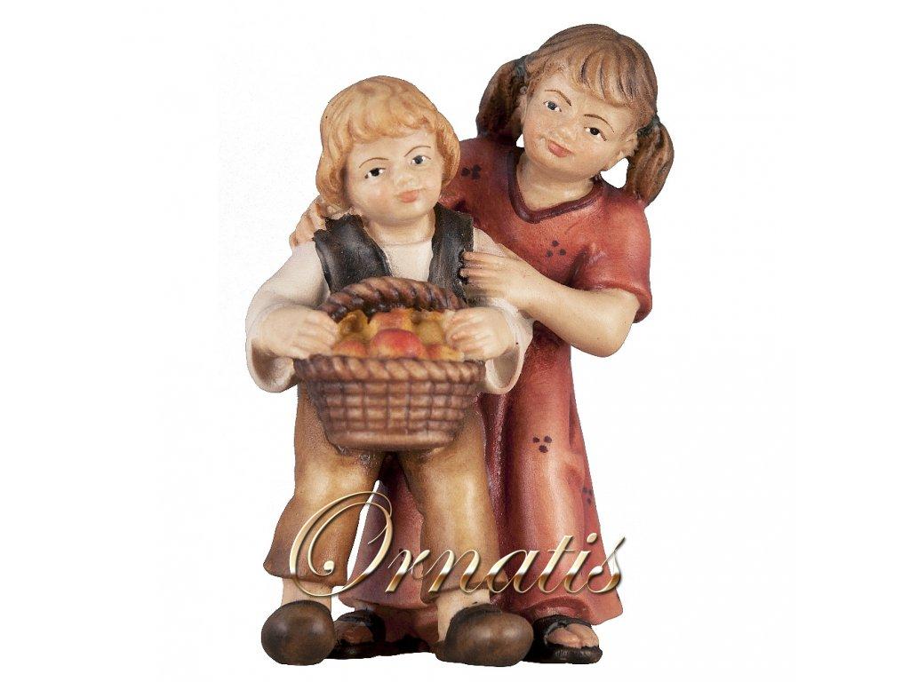 Děti s košíkem (Velikost salaše Malovaná, Velikost stojících figur 22 cm)