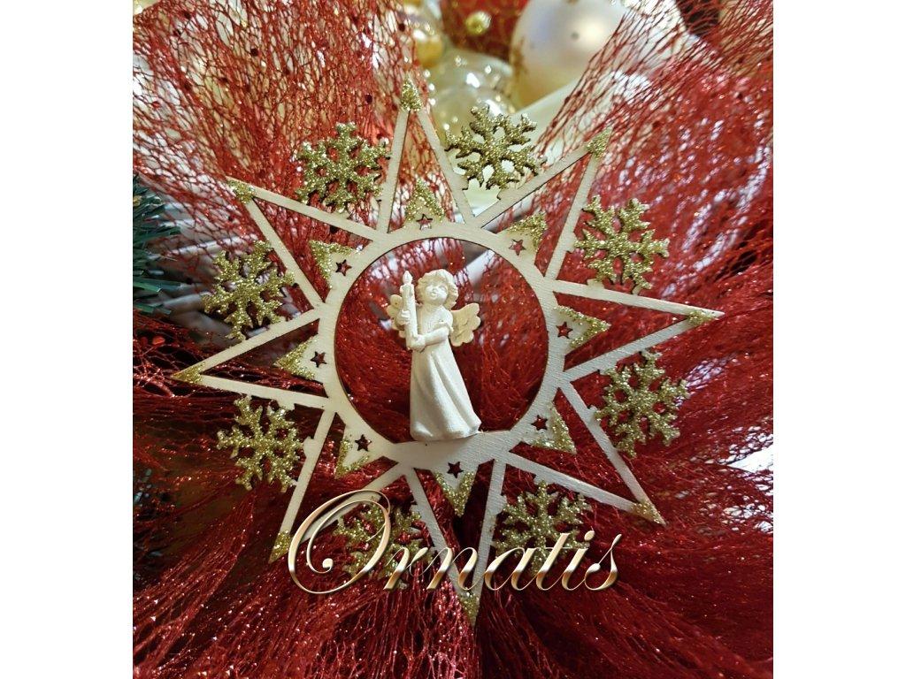 vánoční vločka s andělem se svíčkou dřevěná vánoční ozdoba online prodej