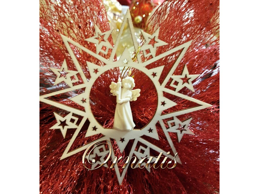 anděl se svíčkou dřevěná soška prodej vánočních ozdob ze dřeva