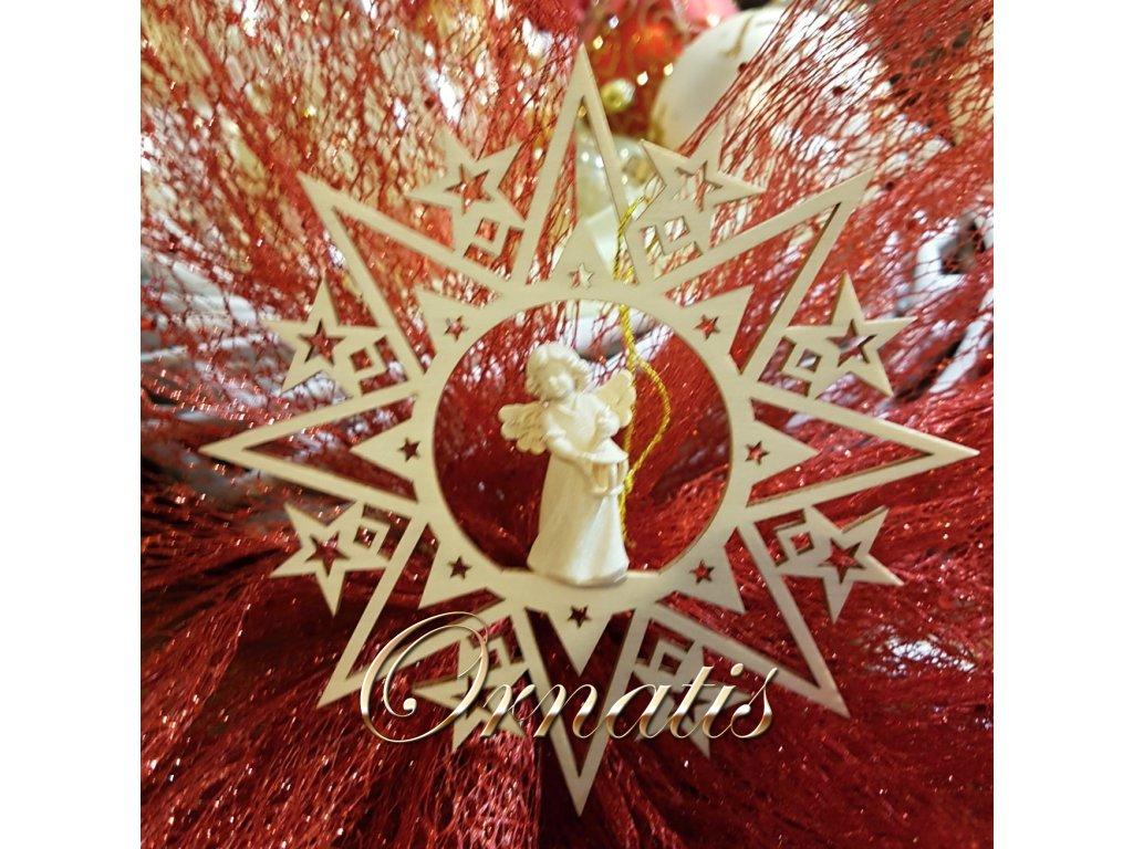 dřevěná vánoční ozdoba anděl prodej vánočních ozdob online
