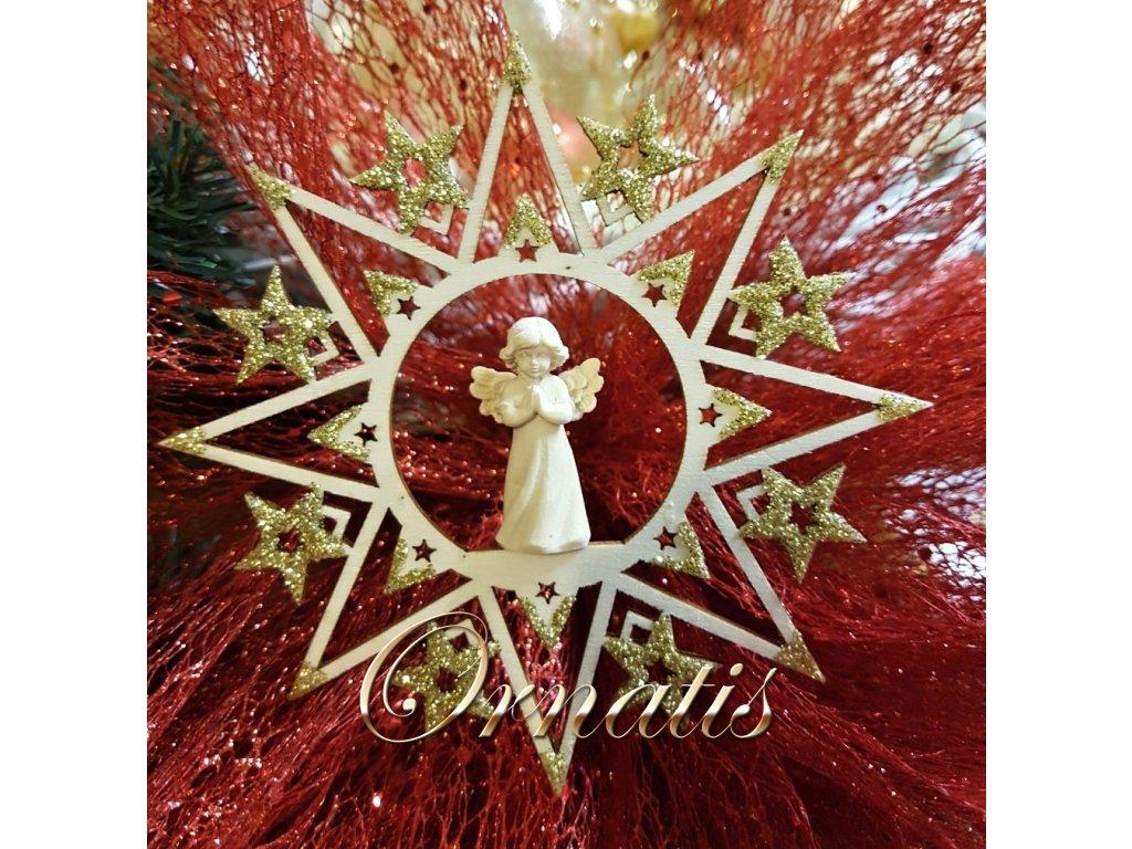 dřevná vánoční ozdoba s andělěm prodej vánočních ozdob