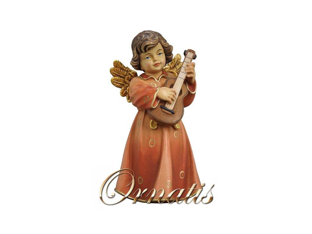 dřevěný vyřezávaný anděl s kytarou anděl s hudením nástroj prodej soch