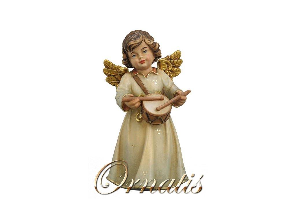 dřevěný anděl bubínkem vyřezávaní andělé a vyřezávané sošky