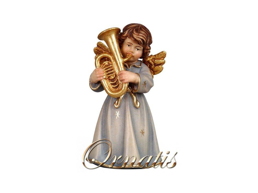 anděl hrající na heligon dřevěná vyřezávaná socha anděla