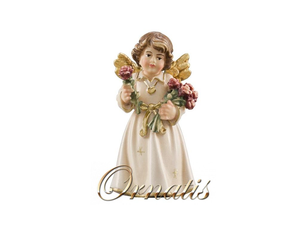 anděl vyřezávany s růžemi dřevěné sošky na prodej