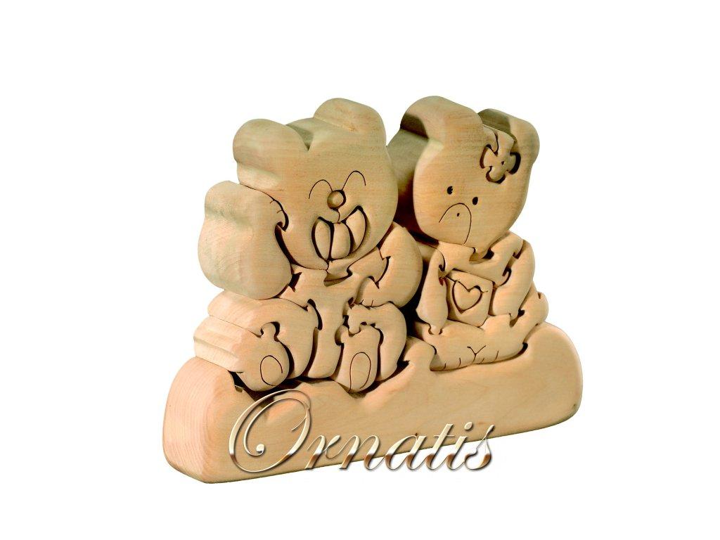 dřevěné 3D puzzle-medvídci
