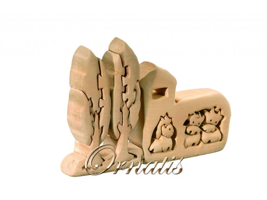 dřevěné 3D puzzle-chlév se zvířaty