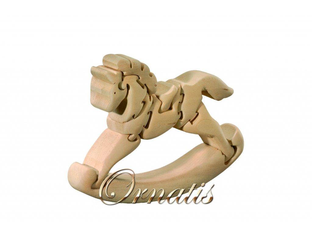 dřevěné 3D puzzle-houpací koník