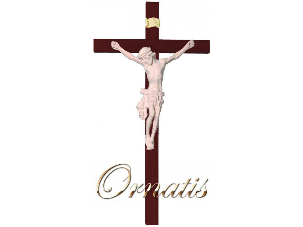 dřevěný vyřezávaný Ježíš Kristus na kříži- přírodní