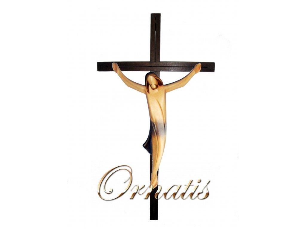 dřevěný vyřezávaný Ježíš na kříži- malovaný