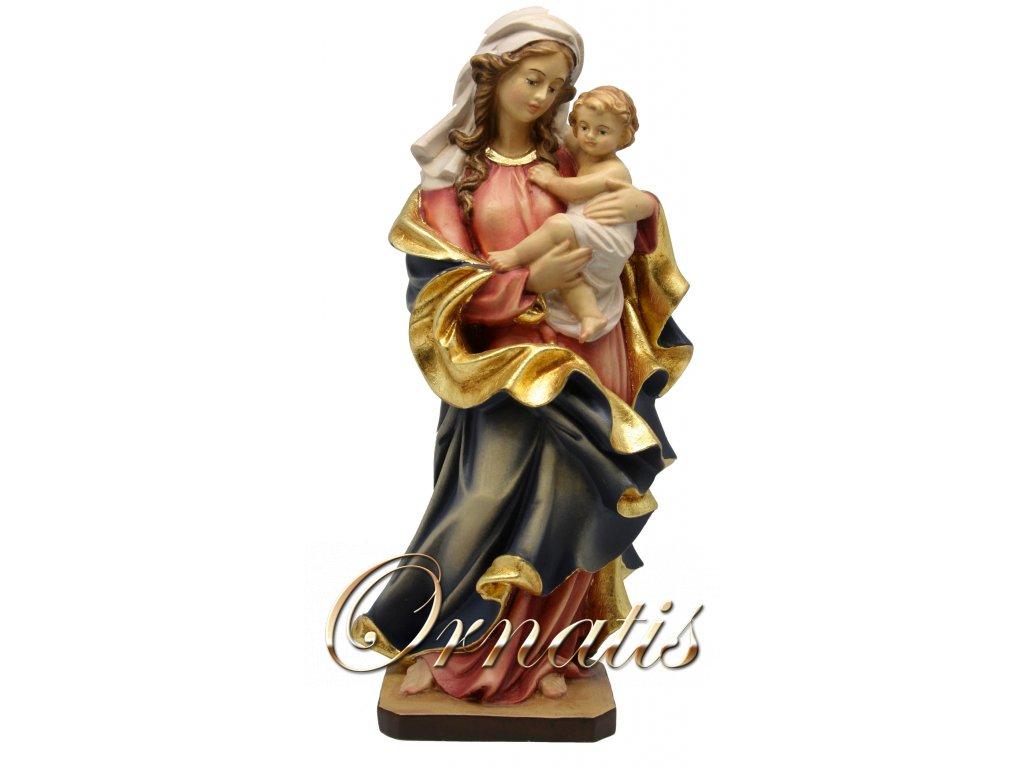 dřevěná vyřezávaná socha madony s Ježíškem