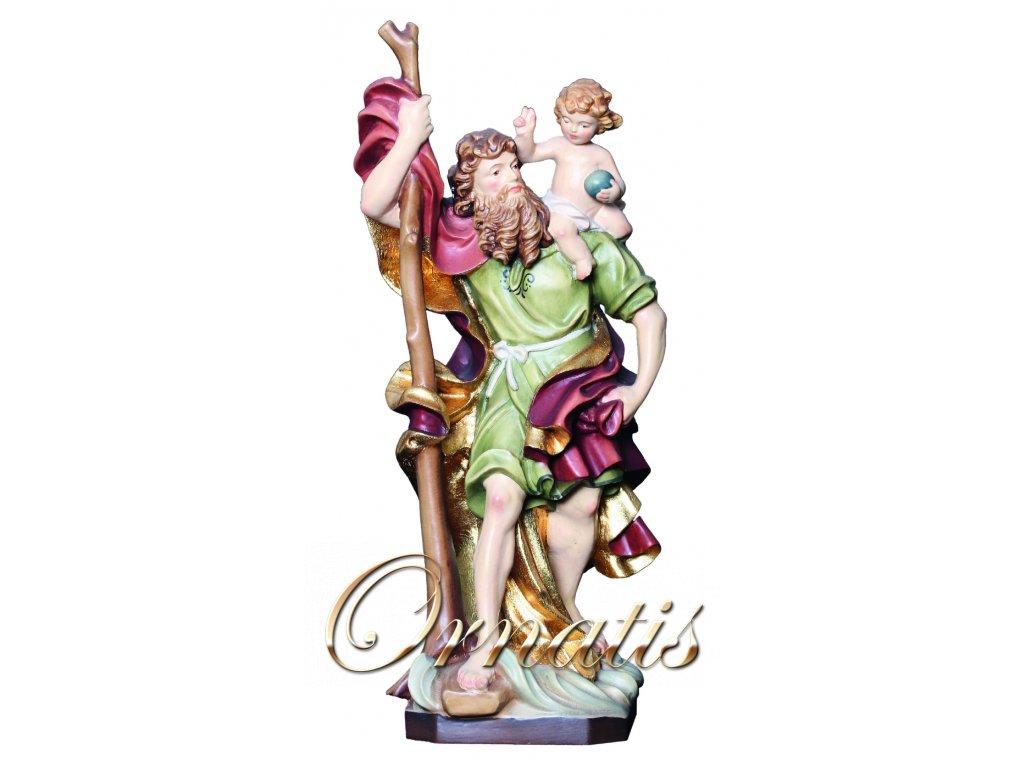 Dřevěná vyřezávaná Socha Svatého Kryštofa