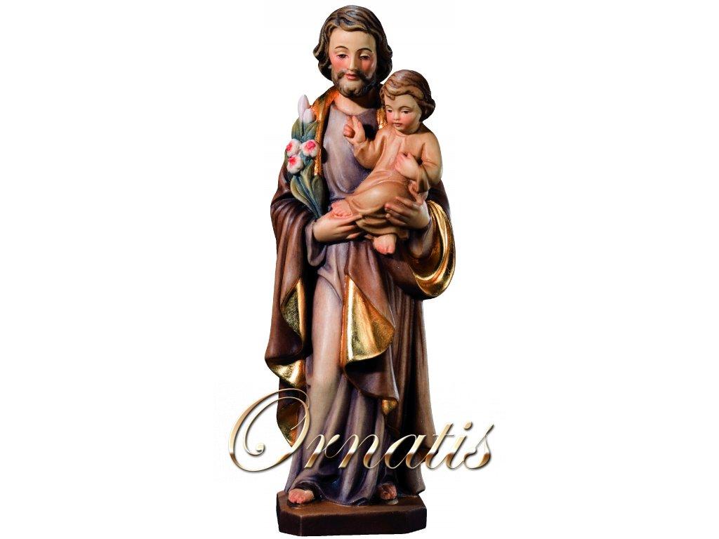 Dřevěná vyřezávaná socha Svatého Josefa s Dítětem